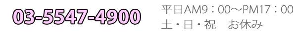 TEL03-5547-4900 営業時間平日9:00~17:00 定休日 土・日・祝日